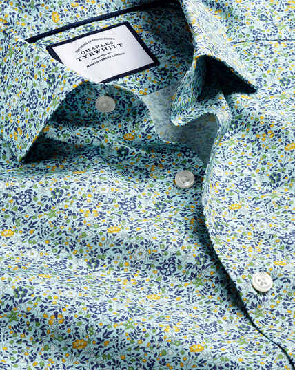 Hemd mit Semi-Haifischkragen Made with Liberty Fabric - Himmelblau