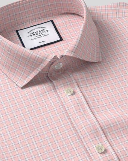 Bügelfreies Hemd mit Haifischkragen und Gitterkaros - Rosa