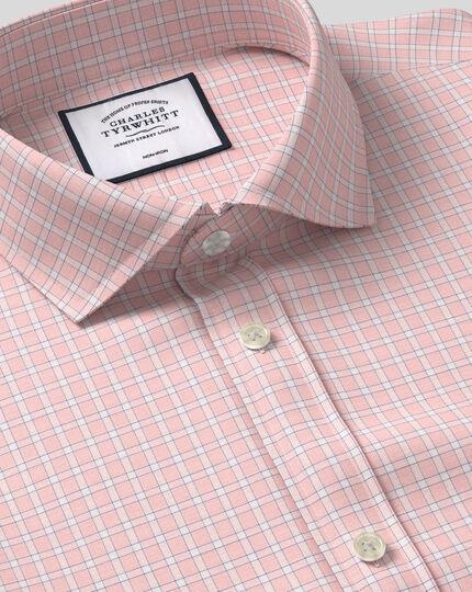 Cutaway Collar Non-Iron Grid Check Shirt - Pink