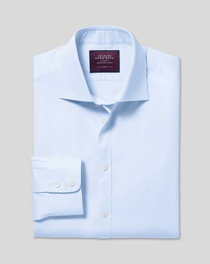 Luxuriöses Twill-Hemd mit Semi-Haifischkragen - Himmelblau