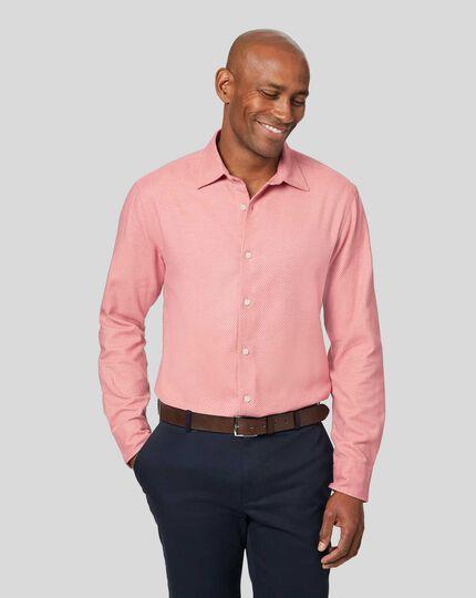 Strukturiertes Hemd aus Leinen & gebürsteter Baumwolle - Rosa