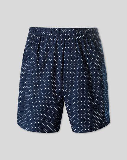 Printed Dot Woven Boxers - Navy