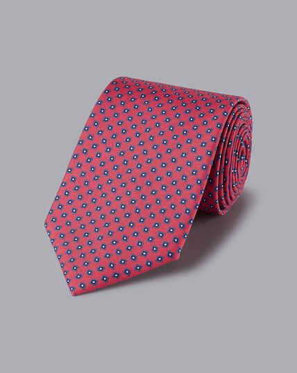 Silk Geometric Print Tie - Dark Pink & Navy
