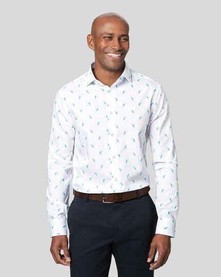 Semi-Cutaway Collar Toucan Printed Shirt - Teal