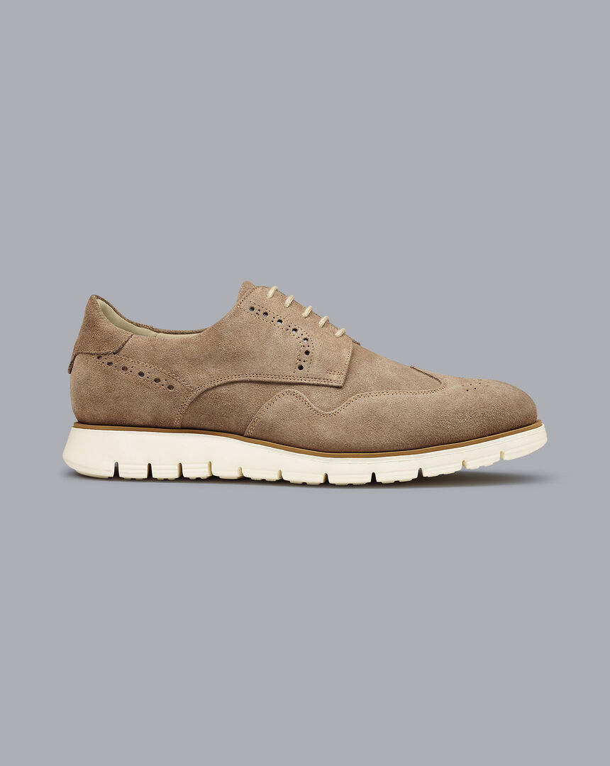 Hybrid-Sneaker aus Wildleder - Mokkafarben