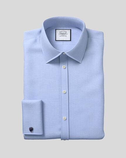 Classic Collar Egyptian Cotton Lattice Weave Shirt - Blue