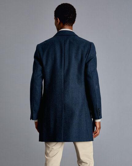 Epsom-Mantel aus britischem Wolle-Baumwolle-Mix mit Fischgrätmuster - Blau