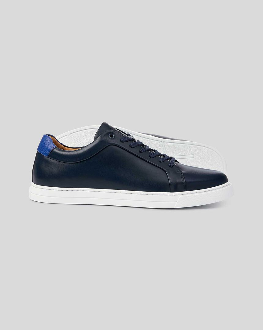 Leather Trainers  - French Blue