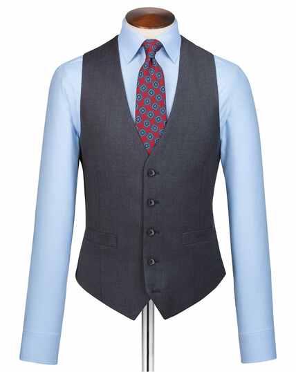 Steel blue adjustable fit twill business suit vest