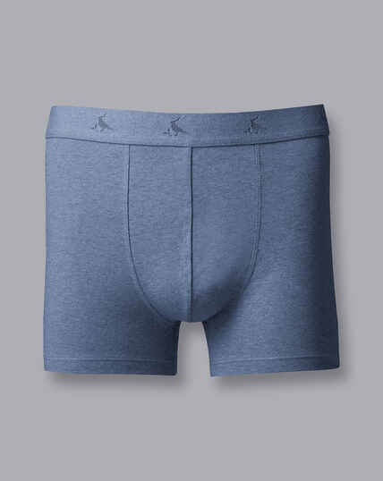 3 Pack Cotton Stretch Jersey Trunks - Blue