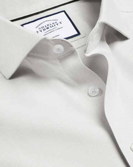 Cutaway Collar Non-Iron Ludgate Weave Shirt - Grey