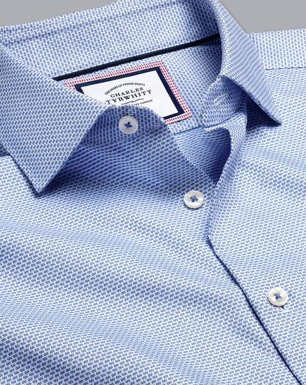 Semi-Cutaway Collar Non-Iron Stretch Texture Shirt - Sky