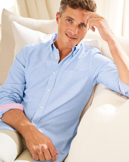 Button-Down Collar Washed Oxford Bengal Stripe Shirt - Blue & White