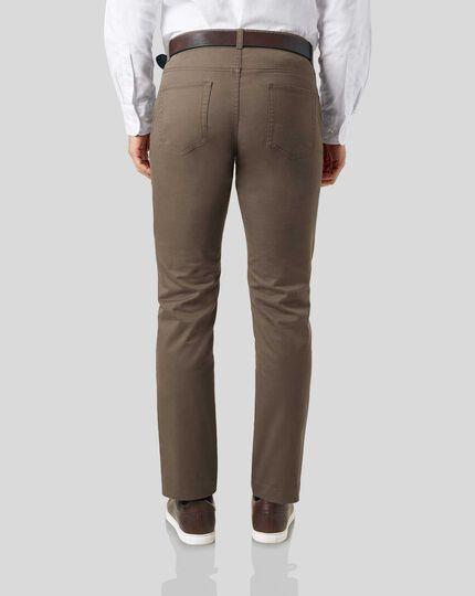 Cotton Stretch 5-Pocket Pants - Mocha