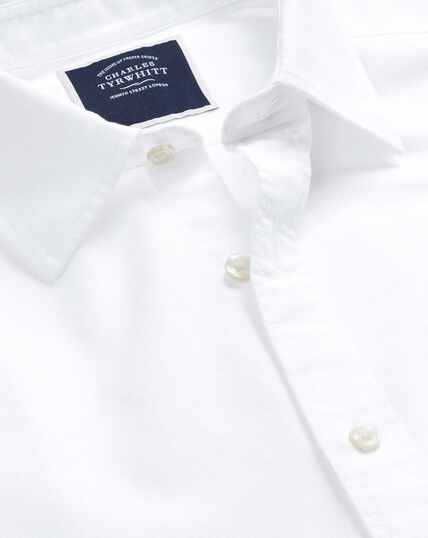 Cotton Linen Short Sleeve Shirt - White