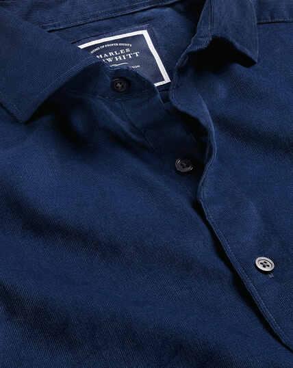 Cutaway Collar Fine Corduroy Shirt - Royal