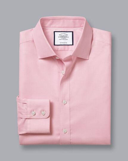 Semi-Spread Egyptian Cotton Deco Weave Shirt - Pink