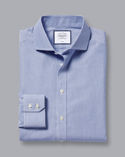 Bügelfreies Hemd mit Haifischkragen und Bengal-Streifen - Königsblau