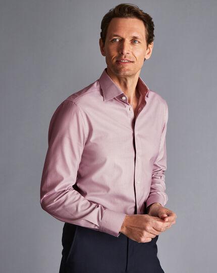 Semi-Spread Collar Egyptian Cotton Twill Bengal Stripe Shirt - Red