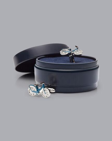 Bike Cufflinks - Silver & Blue