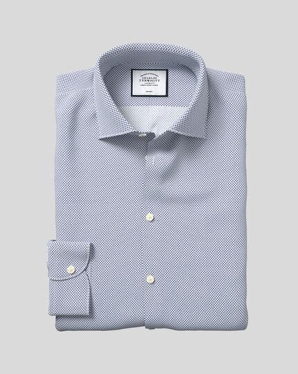 Business Casual Collar Non-Iron Motif Print Shirt - Navy