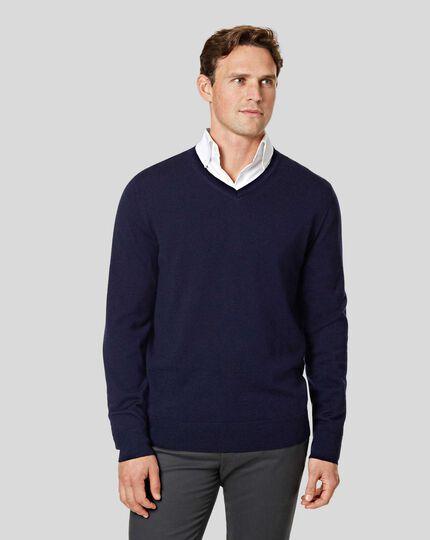 Merino V-neck Sweater - Navy