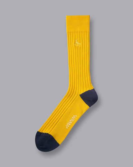 Rippstrick-Socken aus Baumwolle - Sonnenblumengelb