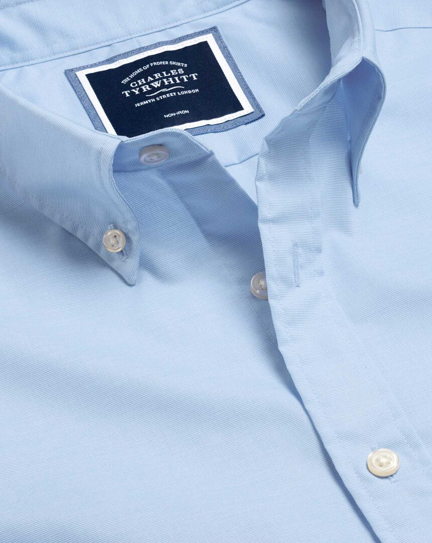 Button-Down Collar Non-Iron Stretch Poplin Shirt - Sky