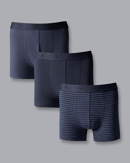 3 Pack Cotton Stretch Patterned Jersey Trunks - French Blue