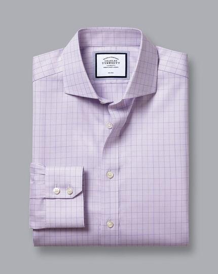 Bügelfreies Twill-Hemd mit Haifischkragen und Hahnentrittmuster - Lila