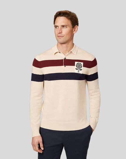LIMITED EDITION England Rugby Merino Polo Stripe Jumper - Stone