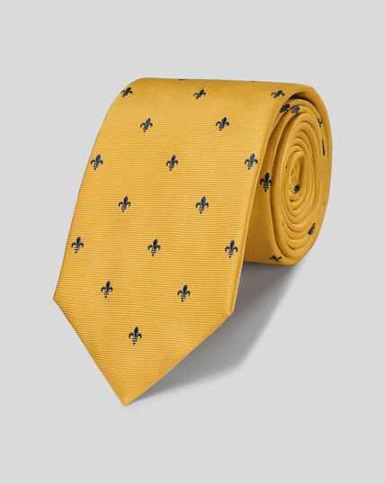 Silk Fleur-de-lys Stain Resistant Classic Tie - Gold
