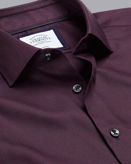 Semi-Cutaway Collar Non-Iron Stretch Texture Shirt - Navy & Red