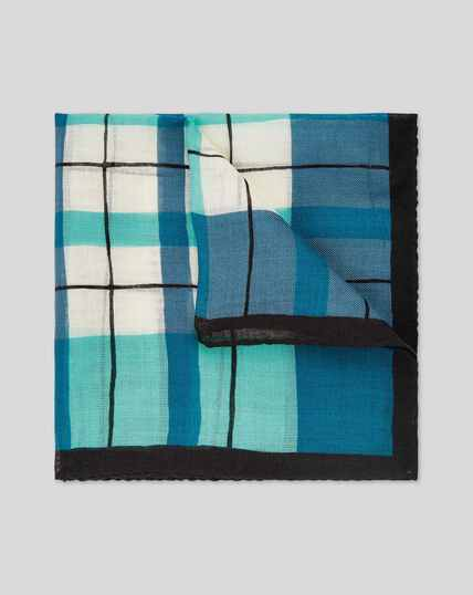 Check Wool Silk Luxury Pocket Square - Navy & Green