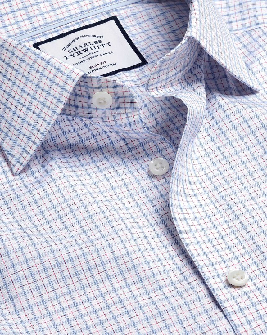 Semi-Cutaway Collar Egyptian Cotton Poplin Check Shirt - Blue & Red