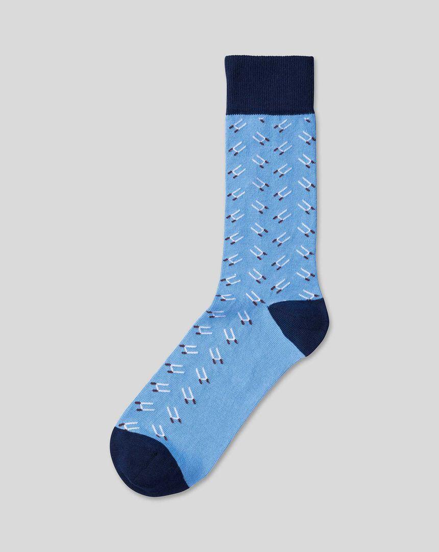 England Rugby Socken mit Rugbytor-Motiv - Kornblumenblau
