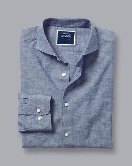 Chambray-Hemd mit Haifischkragen - Indigoblau