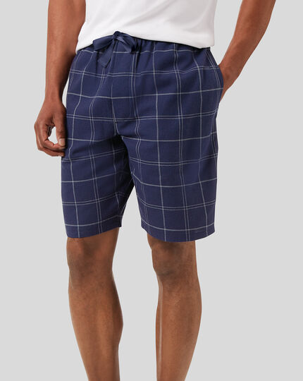 Check Pyjama Shorts - French Blue & White