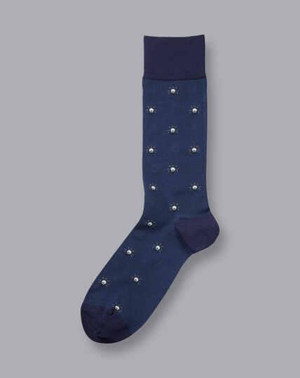 Jacquardsocken mit Glühbirnen-Motiv - Blau