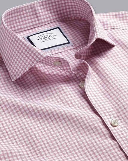 Cutaway Collar Non-Iron Poplin Check Shirt - Berry