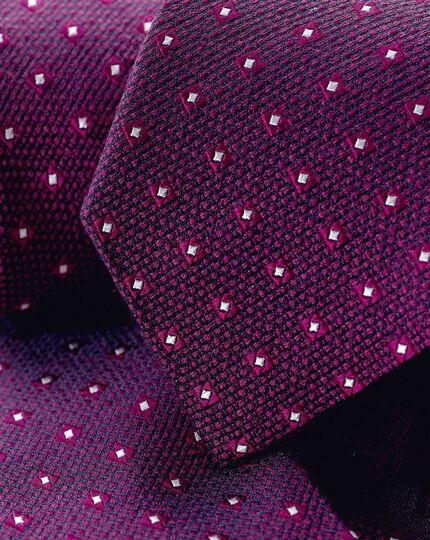 Strukturierte Krawatte aus Seide-Wolle-Mix - Magenta