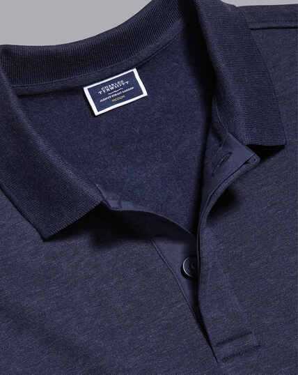Long Sleeve Polo Sweatshirt - Navy