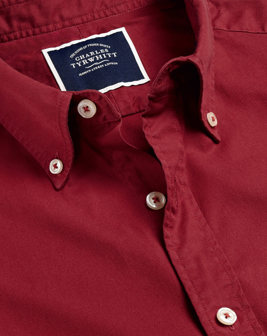 Garment-Dyed Fine Twill Shirt - Red