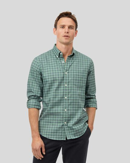 Button-Down Collar Soft Washed Non-Iron Twill Check Shirt - Teal