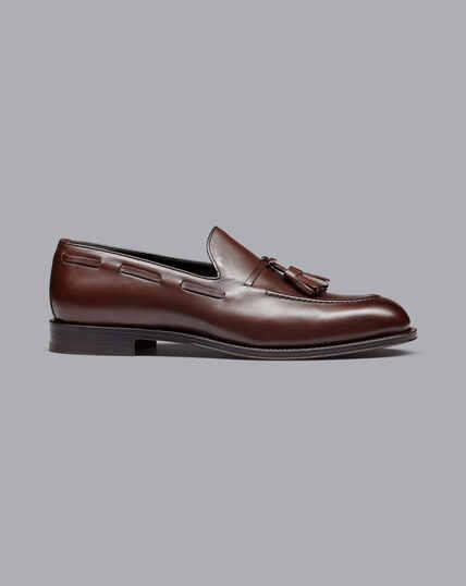 Flexible Sole Tassel Loafers - Dark Brown