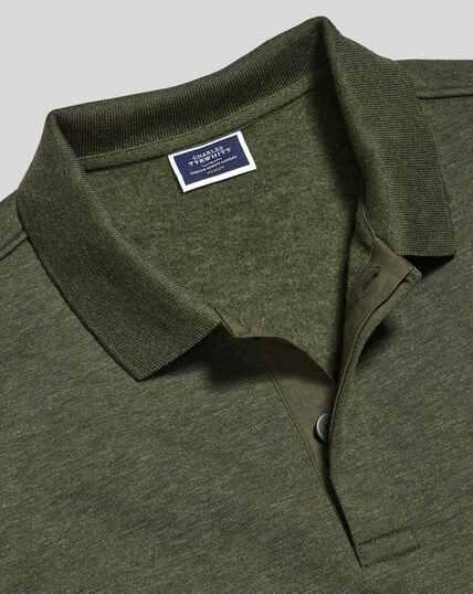 Long Sleeve Polo Sweatshirt - Olive