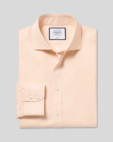 Spread Collar Non-Iron Poplin Shirt - Peach