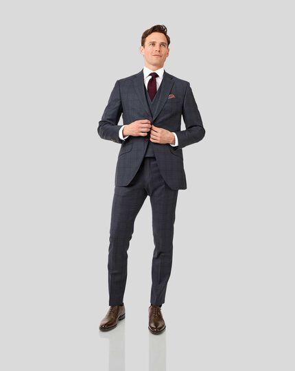 Italian Luxury Twill Check Suit - Blue