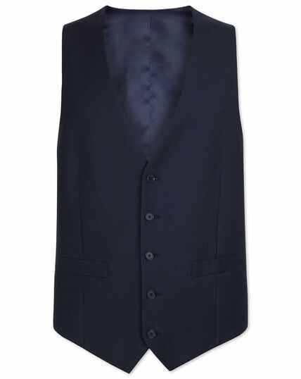 Navy adjustable fit herringbone business suit vest