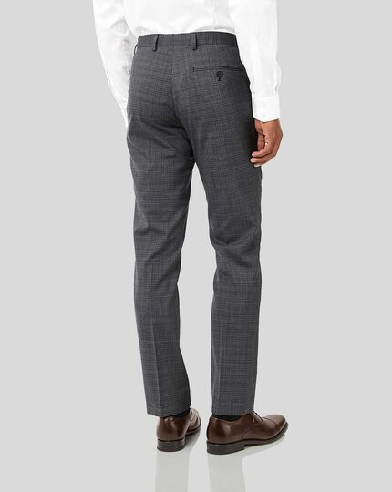 Crosshatch Suit Trousers - Grey